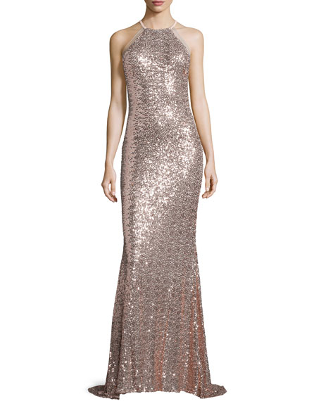 Badgley Mischka Halter-Neck Embellished Gown, Blush