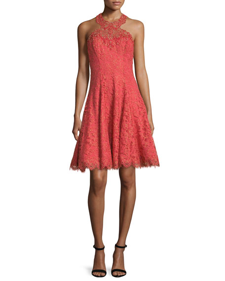 Marchesa Notte Sleeveless Halter Metallic Lace Cocktail Dress
