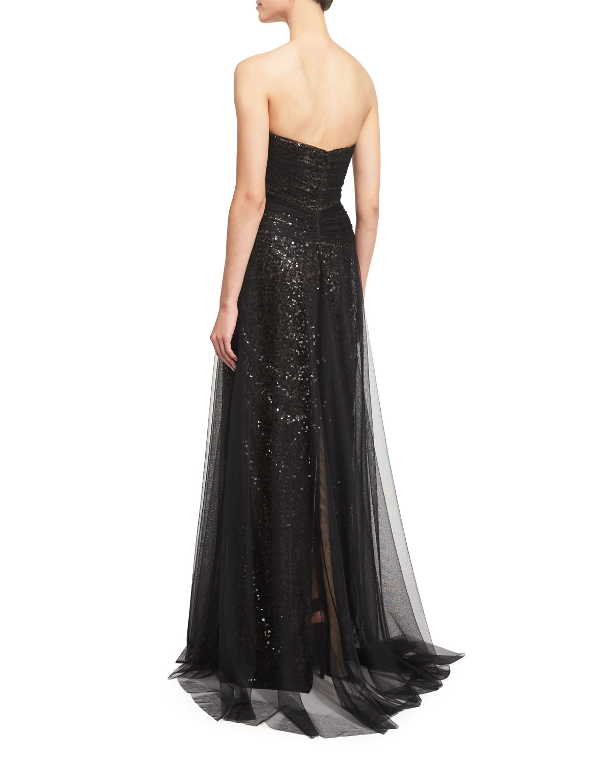 a3e09659 Marchesa Notte Strapless Sequined Tulle Overlay Gown   Neiman Marcus