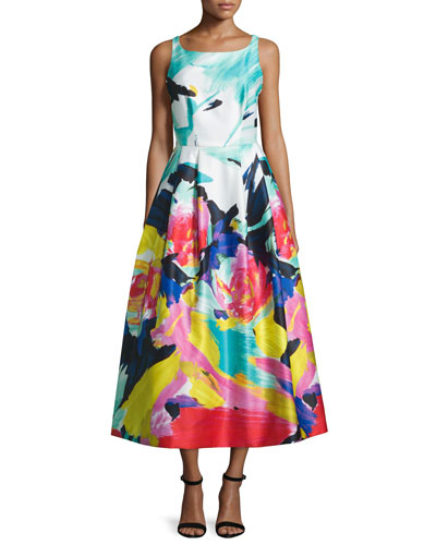 Sleeveless Floral-Print Midi Dress, Multi Colors