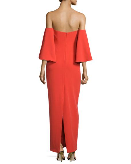 Off-Shoulder Flutter-Sleeve Column Gown, Flame
