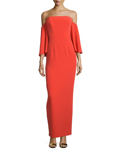 Off-Shoulder Flutter-Sleeve Column Gown, Flame
