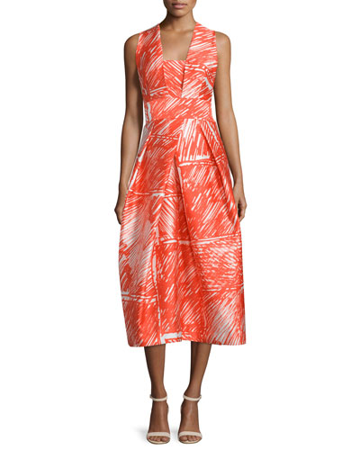 Sleeveless Printed Midi Cocktail Dress, Flame