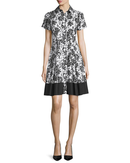 Shoshanna Short-Sleeve Floral-Print Shirtdress, Jet/Off White