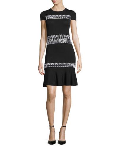 Short-Sleeve Stitched-Knit Dress, Black/White