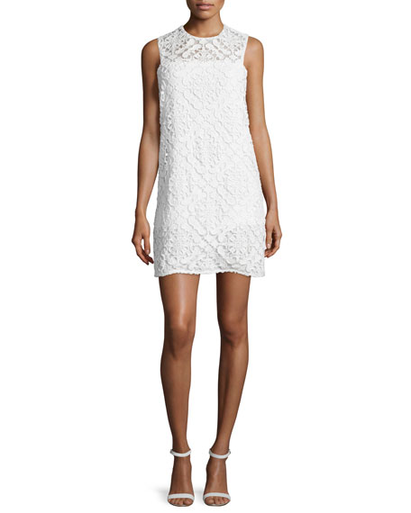 Shoshanna Sleeveless Jewel-Neck Lace Dress, Off White