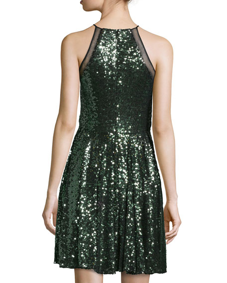 Halter-Neck Embellished Cocktail Dress, Emerald