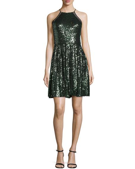 Halter-Neck Embellished Cocktail Dress, Emerald