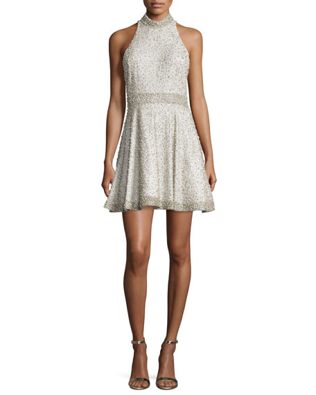 Alice + Olivia Hollie Embellished Fit-&-Flare Dress, Off White