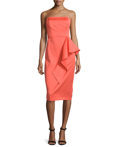 Shoshanna Strapless Ruffle-Front Sheath Dress