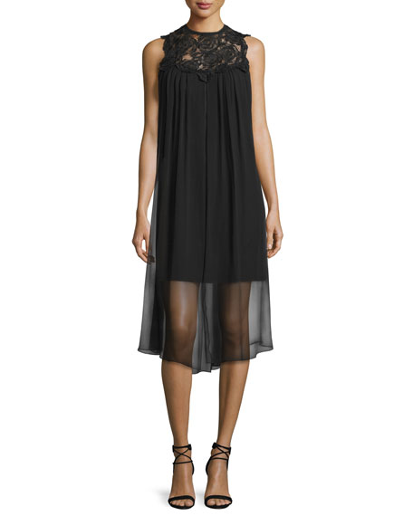 ShoshannaSleeveless Dress W/ Sheer Overlay