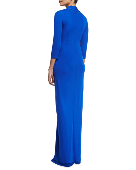 3/4-Sleeve Twist-Front Column Gown, Azure