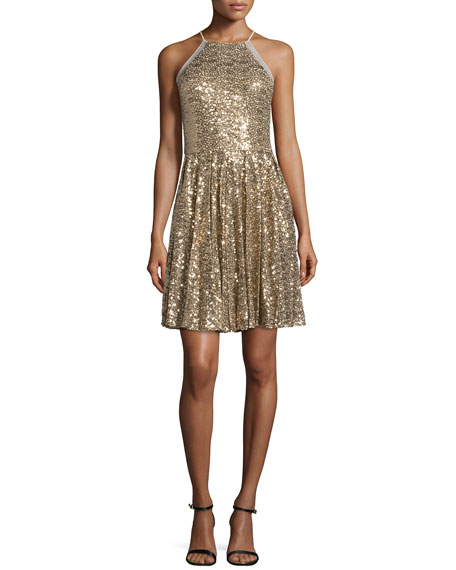 Badgley Mischka Halter-Neck Embellished Cocktail Dress, Gold