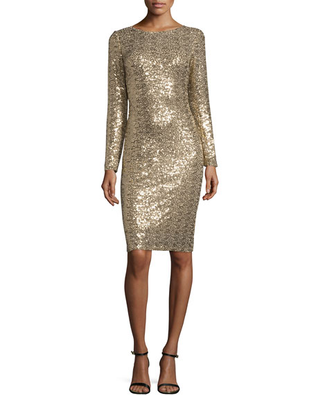 Badgley Mischka Long-Sleeve Embellished Cocktail Dress, Gold