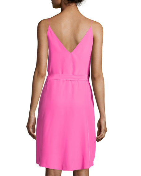 Alex Sleeveless Wrap Dress, Pink Lacquer