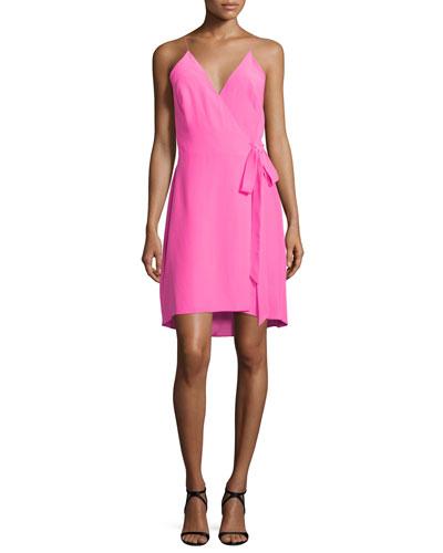 Alex Sleeveless Wrap Dress, Pink Lacquer