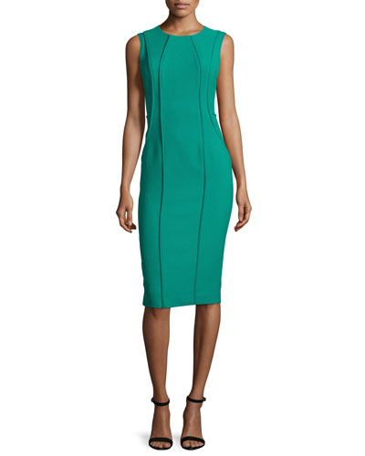 Sleeveless Seamed Crewneck Sheath Dress, Green Cove