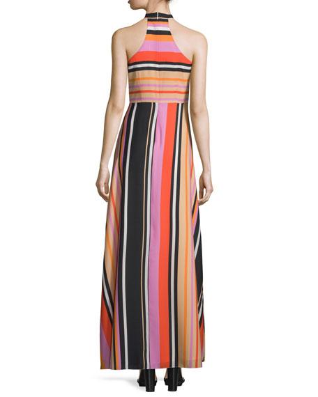 Sleeveless Halter Striped Gown
