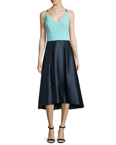 Phoebe Couture Sleeveless Fit-And-Flare Combo Dress