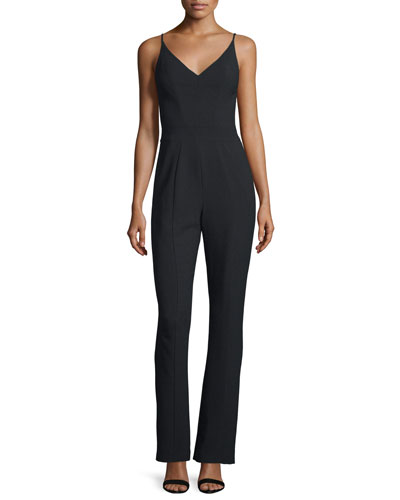 Spaghetti Strap V-Neck Tailored Jumpsuit