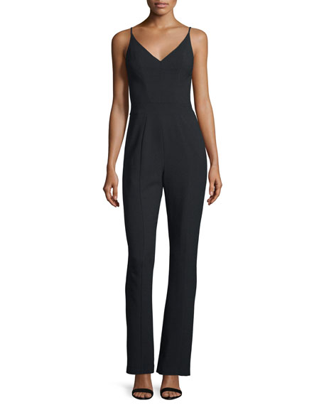 Black Halo Spaghetti Strap V-Neck Tailored Jumpsuit