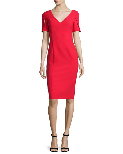 Short-Sleeve V-Neck Sheath Dress, Sour Cherry