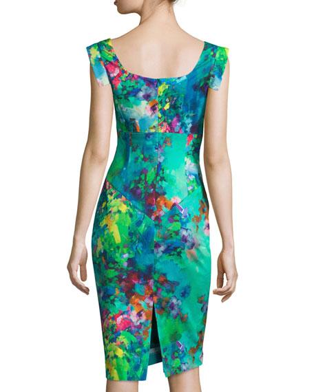 Cap-Sleeve Floral-Printed Sheath Dress