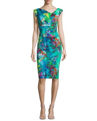 Cap-Sleeve Floral-Printed Sheath Dress