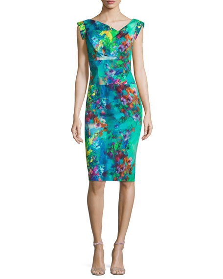 Black Halo Cap-Sleeve Floral-Printed Sheath Dress