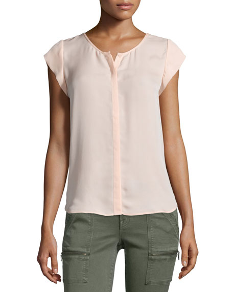 Joie Iva Cap-Sleeve Silk Top