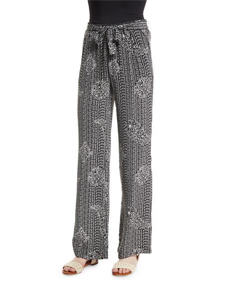 Joie Nurrin Batik Paisley-Printed Silk Pants