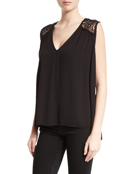 Joie Layson Lace-Inset Sleeveless Top