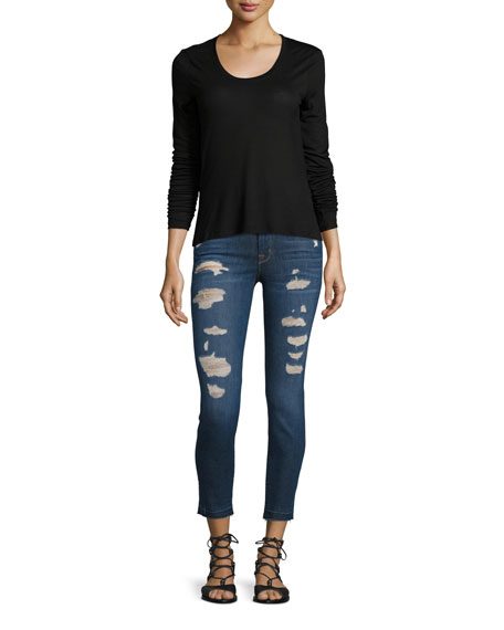 Low-Rise Distressed Cropped Jeans, Demented Trouble (Indigo)