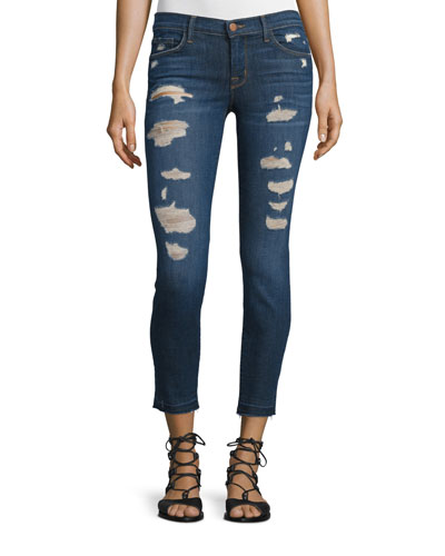 Low-Rise Distressed Cropped Jeans, Demented Trouble