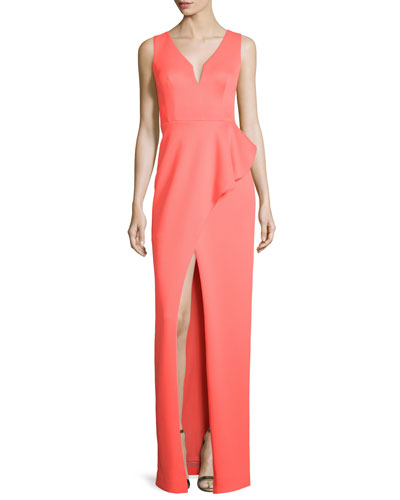Hendricks Sleeveless Peplum Column Gown