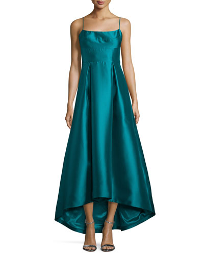 Adashi Sleeveless High-Low Gown, Green
