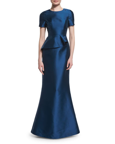 Short-Sleeve Peplum Trumpet Gown, Deep Sea