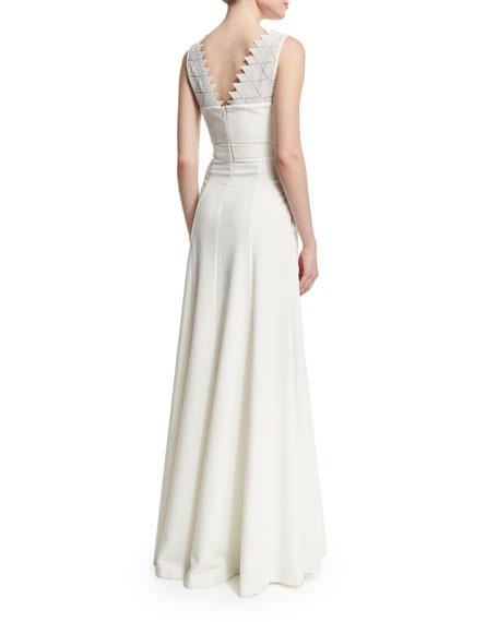 Sleeveless Scalloped V-Neck Column Gown