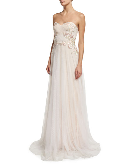 Marchesa Notte Strapless Sweetheart Embroidered Combo Gown