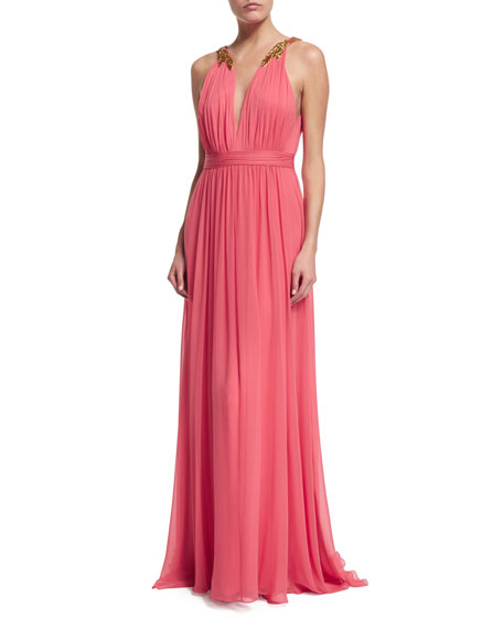 Sleeveless Chiffon Gown with Beaded Accent