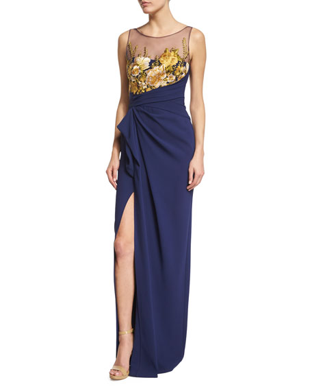 Sleeveless Floral-Embroidered Column Gown
