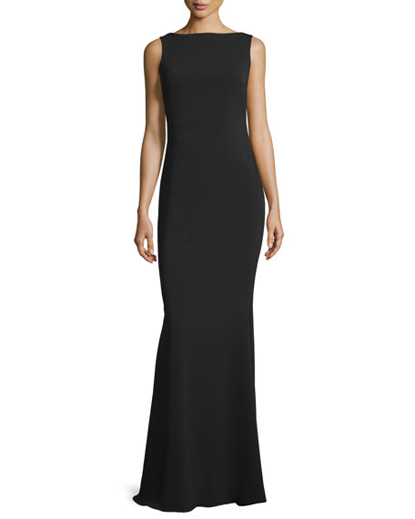 Marchesa Notte Sleeveless Metallic Cowl-Back Gown