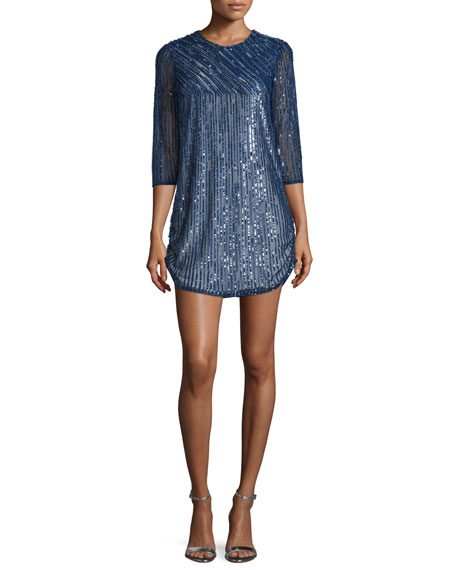 Parker Black Petra 3/4-Sleeve Embellished Dress, Blue