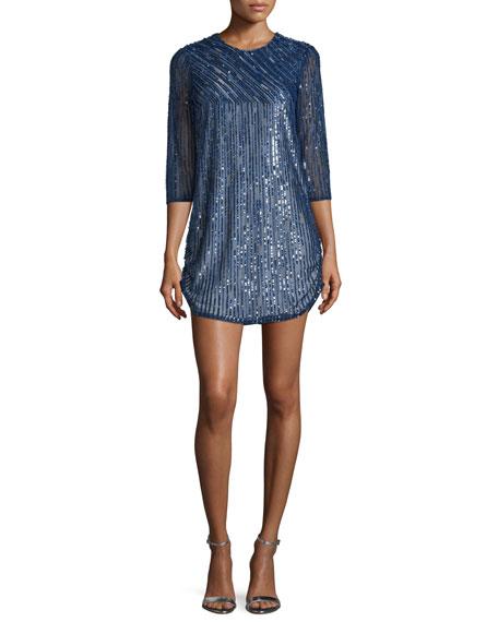 Parker Black Petra 3/4-Sleeve Embellished Dress, Blue