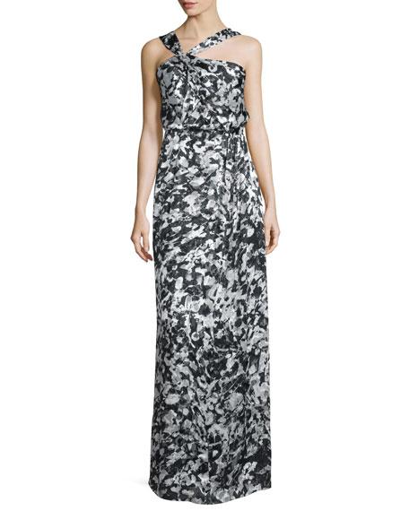 Parker BlackSelena Asymmetric-Neck Floral Gown, Rorschach
