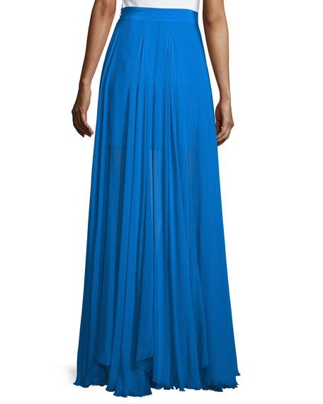 Flowy Silk Maxi Skirt W/ Front Slit