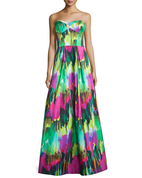 Milly Strapless Sweetheart-Neck Printed Gown, Emerald