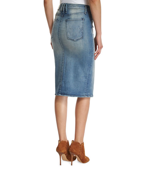 Marino Denim Pencil Skirt, Royalist
