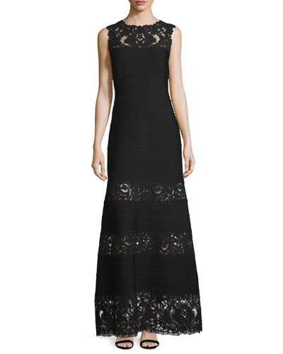 Sleeveless Pintucked Lace-Panel A-line Gown