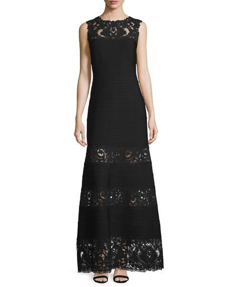 Tadashi Shoji Sleeveless Pintucked Lace-Panel A-line Gown